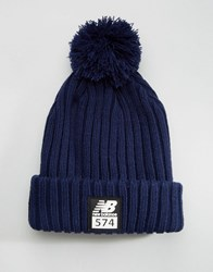 New Balance 574 Bobble Beanie Navy