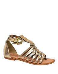 Naughty Monkey Boardwalk Leather Sandals Gold