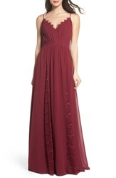 Hayley Paige Occasions 'S Lace And Chiffon Gown Burgundy