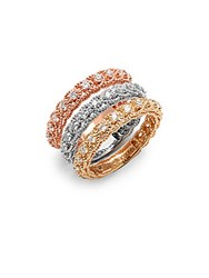 Saks Fifth Avenue Diamond And 14K Tricolor Gold Illusion Stackable Ring Set