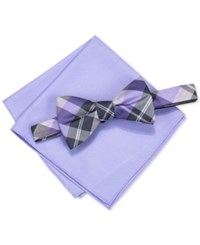Alfani Men's Hudson Plaid Pre Tied Bow Tie And Pocket Square Set Only At Macy's Purple