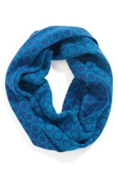 Phase 3 Retro Check Intarsia Infinity Scarf Blue