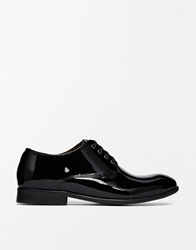 H By Hudson Lincoln Leather Flat Lace Up Shoes Blackpatent