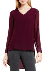 Vince Camuto Women's Knit Underlay High Low V Neck Blouse