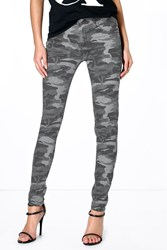 Boohoo Camouflage Print Skinny Jeans Grey