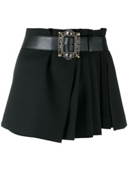 Alexander Mcqueen Pleated Wrap Mini Skirt Women Calf Leather Cupro Wool 40 Black