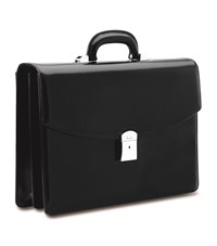 Pineider Double Compartment Leather Briefcase Black