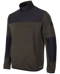 Greg Norman For Tasso Elba Men's Quarter Snap Hydrotech Colorblocked Jacket Only At Macy's Ultra Olive