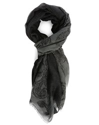 Ikks Grey Paisley And Dots Two Faced Scarf