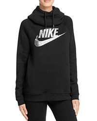 Nike Swoosh Funnel Neck Sweatshirt Black Metallic Silver