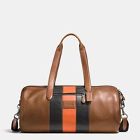 Coach Varsity Stripe Metropolitan Soft Gym Bag In Sport Calf Leather Qb Dark Saddle Black