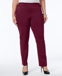 Jm Collection Plus Size Tummy Control Pull On Slim Leg Pants Maroon Dahila