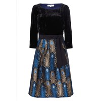 Libelula Beatrix Dress Peacock Feather Black Blue Gold