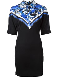 Roberto Cavalli Printed Panel Polo Dress Black