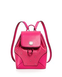 Mcm Claudia Studded Backpack Beetroot Pink