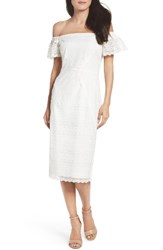 Maggy London Women's Lace Off The Shoulder Shift Dress White