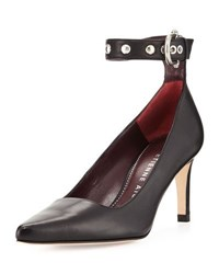 Etienne Aigner Langley Leather Ankle Wrap Pump Black