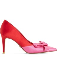 Dune Bowiee Satin Triple Bow Courts Red Satin
