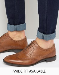 Asos Oxford Brogue Shoes In Tan Leather Wide Fit Available Tan