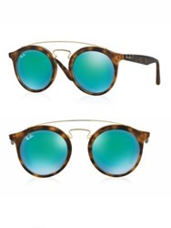 Ray Ban 50Mm Round Mirrored Sunglasses Havana Blue Havana Green