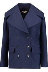 Michael Kors Collection Cotton Crepe Coat Blue
