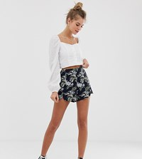 Oasis Shorts With Scallop Hem In Tropical Print Multi