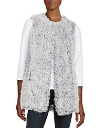 Design Lab Lord And Taylor Curly Faux Fur Vest Light Grey