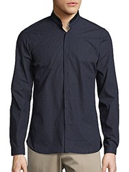 The Kooples Leather Trimmed Sportshirt Navy