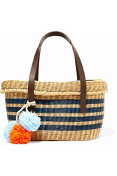 Sophie Anderson Serenella Leather Trimmed Striped Woven Raffia Tote Blue
