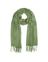 Mila Schon Wool And Cashmere Fringed Stole Khaki