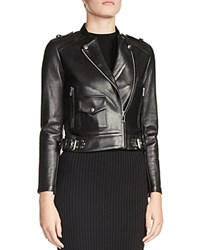 Maje Bass Leather Moto Jacket Black