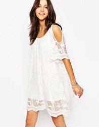 Boohoo Lace Detail Boho Dress Cream