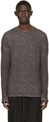 Isabel Benenato Grey Creased Pullover