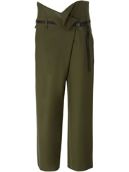 Erika Cavallini Semi Couture Pleated Waist Cropped Trousers Green