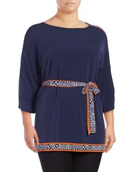 Michael Michael Kors Plus Belted Contrast Tunic Blue