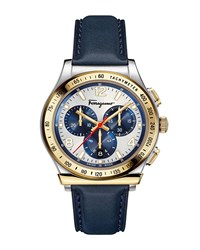 Salvatore Ferragamo 1898 Chronograph Watch With Leather Strap Silver Gold Blue
