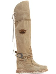 El Vaquero 70Mm Huntress Suede Over The Knee Boots Beige