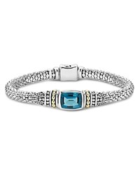 Lagos 18K Gold And Sterling Silver Caviar Color Bracelet With London Blue Topaz Blue Silver