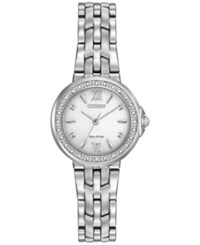 Citizen Women's Eco Drive Diamond Accent Stainless Steel Bracelet Watch 28Mm Em0440 57A Silver