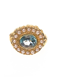 Jade Jagger Aquamarine Pearl And Gold Plated Ring
