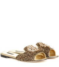 Dolce And Gabbana Exclusive To Mytheresa.Com Embellished Metallic Slippers Gold