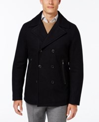 Michael Kors Men's Faux Leather Trim Wool Blend Peacoat Officer Navy