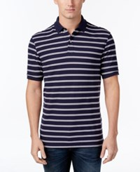 Club Room Men's Big And Tall Striped Polo Only At Macy's Navy Blue