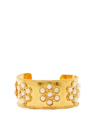 Sylvia Toledano Happy Flower Pearl Embellished Cuff Gold