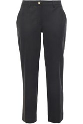 Versace Collection Woman Cropped Woven Slim Leg Pants Black