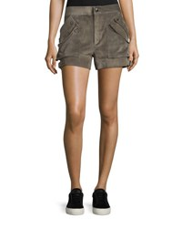 Helmut Lang Suede Buckled Mid Rise Shorts Mortar