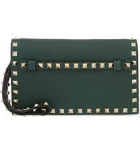 Valentino Studded Leather Wristlet Green