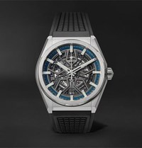 Zenith Defy Classic Automatic Skeleton 41Mm Brushed Titanium And Rubber Watch Gray