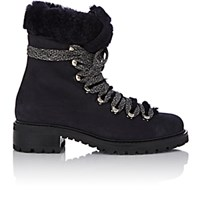 Barneys New York Women's Shearling Lined Garnet Ankle Boots Navy