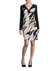 Laundry By Shelli Segal Matte Jersey Long Sleeve Mock Wrap Dress Khaki Black